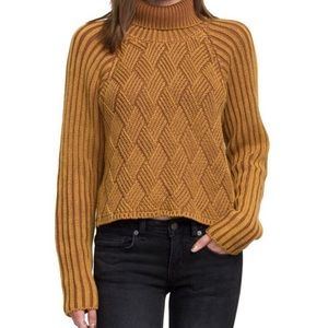 RVCA Weave Ribbed Chunky Turtleneck Sweater S